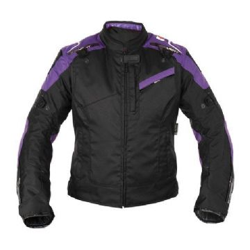 Oxford Valencia Womens Ladies Waterproof Textile Jacket - Black/Purple TW224